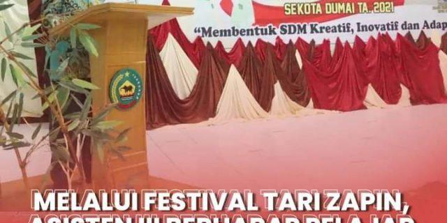 Asisten Administrasi Umum, Muhammad Syafie, S.sos, M.Si Menutup Festival Tari Zapin Tingkat SMP Sederajat Dan Lomba Lagu Melayu Tahun 2021