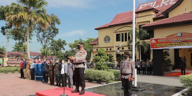 Pastikan Keamanan Obyek Vital Nasional, Kapolda Riau Pimpin Gelar Apel Patroli Berskala Besar di Polres Rohil