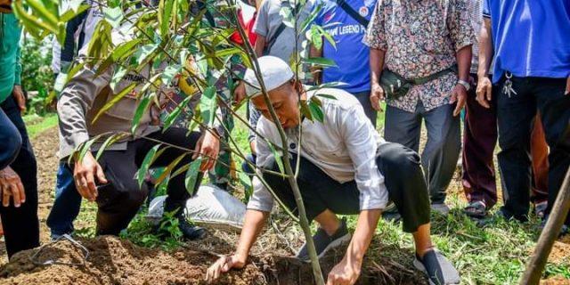 Wali Kota Dumai, Melakukan Penanaman Bibit Durian di Lahan Kelompok Tani Mekar Sejati
