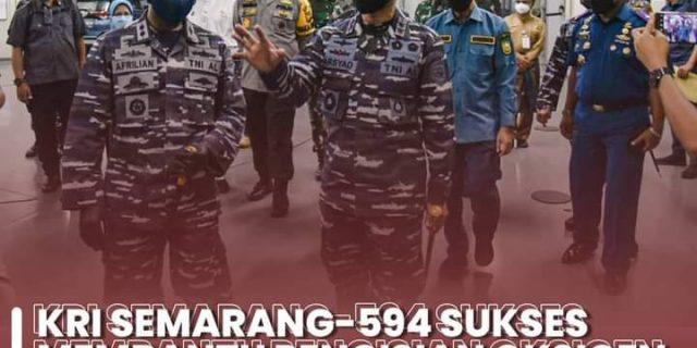 KRI Semarang-594 Sukses Membantu Pengisian Oksigen, Walikota Dumai: Semoga Bantuan Tersebut Bermanfaat bagi Masyarakat